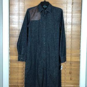 NWT Ralph Lauren Denim/Leather Shirt Dress Size S
